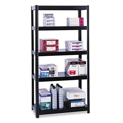 Boltless Steel Shelving, Five-Shelf, 36w x 24d x 72h, Black