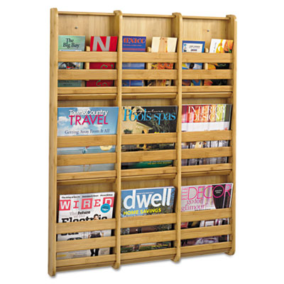 Bamboo Magazine/Pamphlet Wall Display, 29w x 1-3/4d x 37-3/4h, N