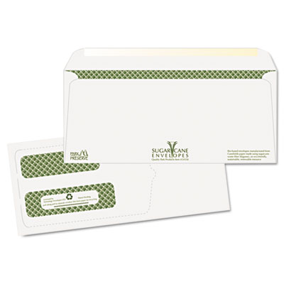 Bagasse Sugarcane Envelope, Window, #10, White, Sec Tint, 1000/C