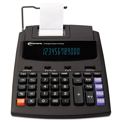 16000 Two-Color Roller Printing Calculator, Black/Red Print, 2.7
