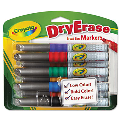 Dry Erase Markers, Chisel Tip, Assorted Colors, 8 Markers/Set