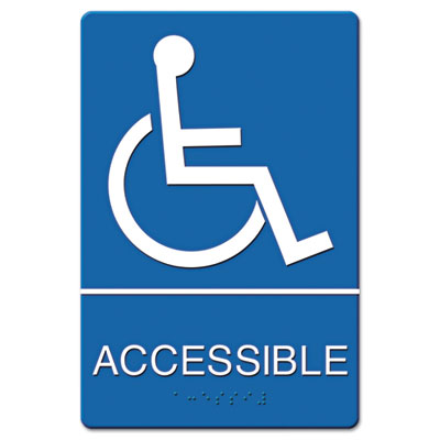 ADA Sign Wheelchair Accessible, Tactile Symbol/Braille, Plastic,
