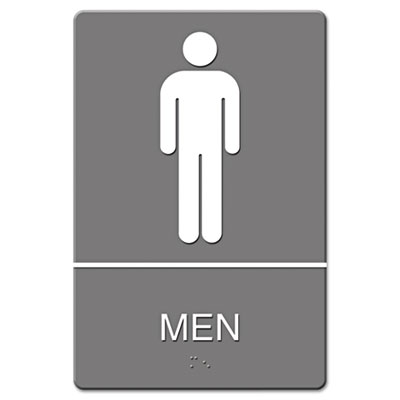 ADA Sign, Men Restroom Symbol w/Tactile Graphic, Molded Plastic,