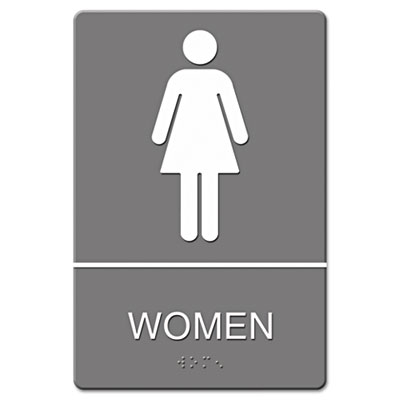 ADA Sign, Women Restroom Symbol w/Tactile Graphic, Molded Plasti