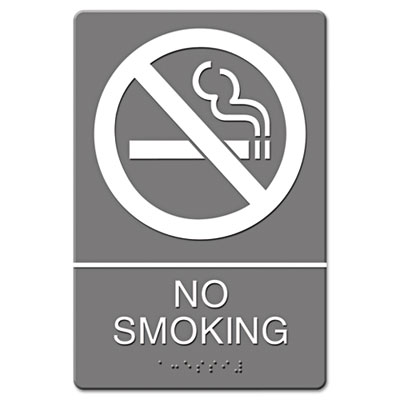 ADA Sign, No Smoking Symbol w/Tactile Graphic, Molded Plastic, 6