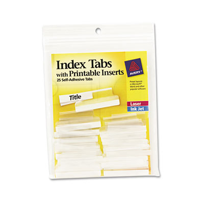 Self-Adhesive Tabs with Printable Inserts, 1 1/2 Inch, Clear Tab