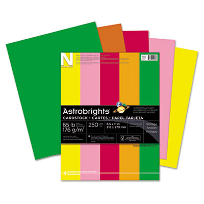 Astrobrights Colored Card Stock, 65 lb., 8-1/2 x 11, Assorted, 2