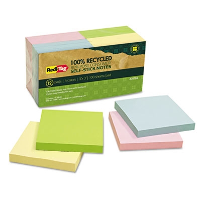 100% Recycled Notes, 3 x 3, Four Colors, 12 100-Sheet Pads/Pack