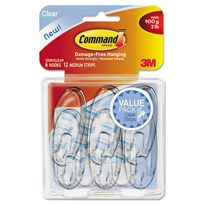 Clear Hooks & Strips, Plastic, Medium, 6 Hooks & 12 Strips/Pack