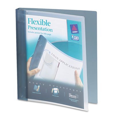 "Flexible Round Ring Binder, 1"" Capacity, Gray"