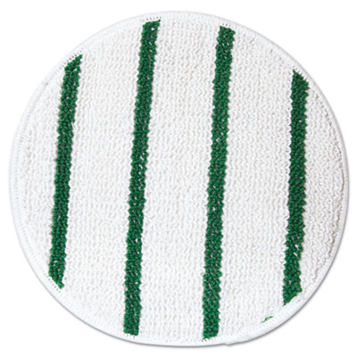 "Low Profile Scrub-Strip Carpet Bonnet, 17"" dia, White/Green"