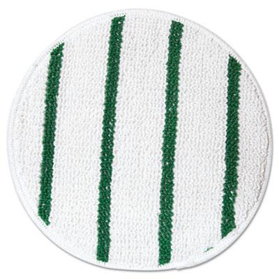 """Low Profile Scrub-Strip Carpet Bonnet, 17"""" dia, White/Green"""