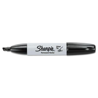 Permanent Marker, 5.3mm Chisel Tip, Black, 12/Pack