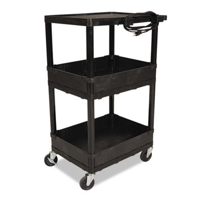 All Service Cart, Three-Shelf, 24w x 18d x 42h, Black
