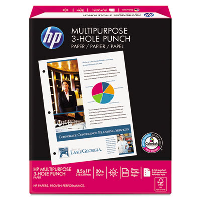 Multipurpose Paper, 96 Brightness, 3-Hole Punched, 20lb, Ltr, Wh