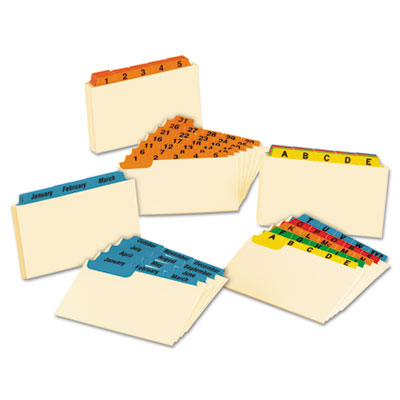Laminated Index Card Guides, Monthly, 1/3 Tab, Manila, 3 x 5, 12