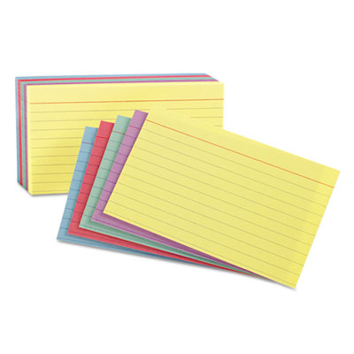 Ruled Index Cards, 3 x 5, Blue/Violet/Canary/Green/Cherry, 100/P