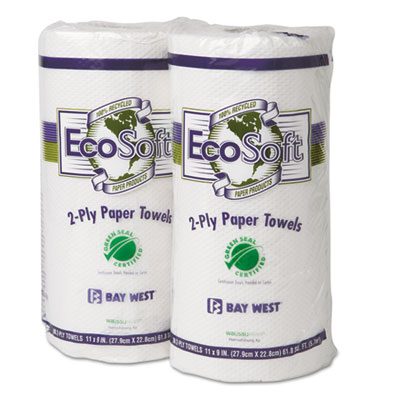 EcoSoft Green Seal Household Roll Towels, White, 90 Towels/Roll,