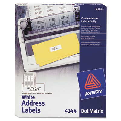 Dot Matrix Printer Address Labels, 3 Across, 15/16 x 2-1/2, Whit