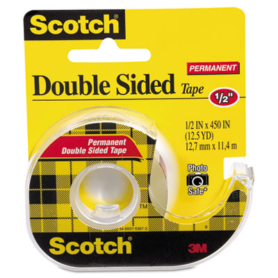 "665 Double-Sided Office Tape w/Hand Dispenser, 1/2"" x 450"""