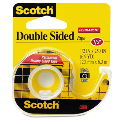 "665 Double-Sided Office Tape w/Hand Dispenser, 1/2"" x 250"""
