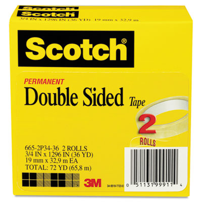 "Double Sided Tape, 3/4"" x 1296"", 3"" Core, Transparent, 2/Pack"