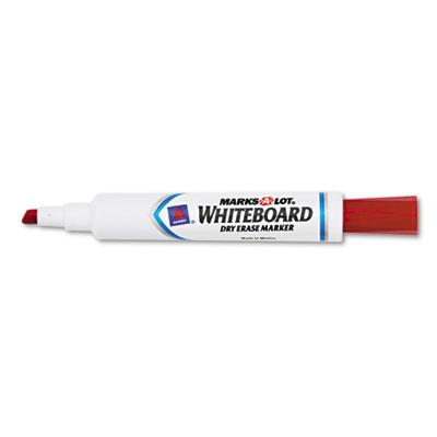 Desk Style Dry Erase Marker, Chisel Tip, Red, Dozen