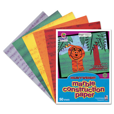Art Street Marble Construction Paper, 76 lbs., 9 x 12, Assorted,