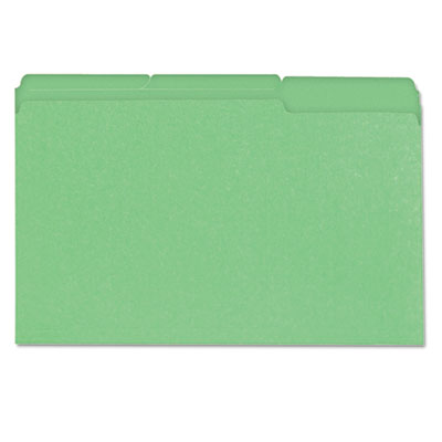 Colored File Folder, 1/3 Cut One-Ply Tab, Legal, Bright Green, 1
