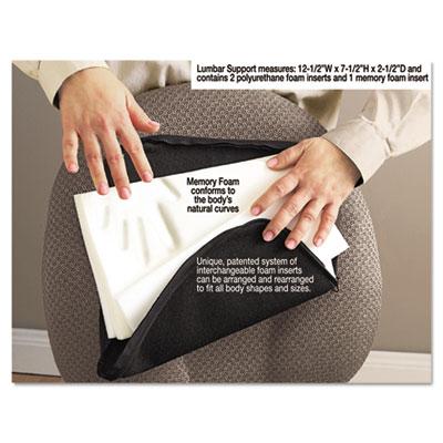 Deluxe Lumbar Support Cushion w/Memory Foam, 7-1/2w x 2-1/2d x 1