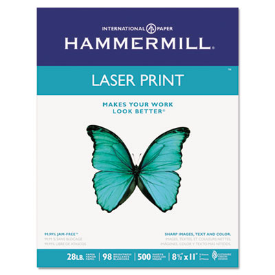 Laser Print Office Paper, 98 Brightness, 28lb, 8-1/2 x 11, White
