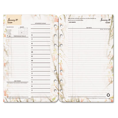 Blooms Dated Daily Planner Refill, January-December, 4-1/4 x 6-3