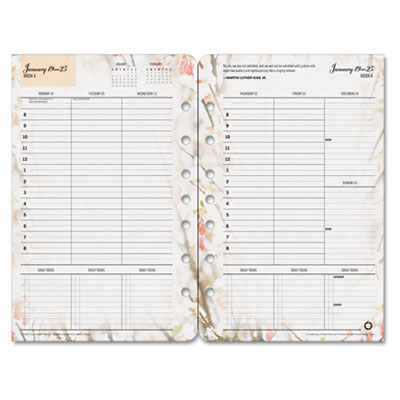 Blooms Dated Weekly/Monthly Planner Refill, Jan.-Dec., 5-1/2 x 8