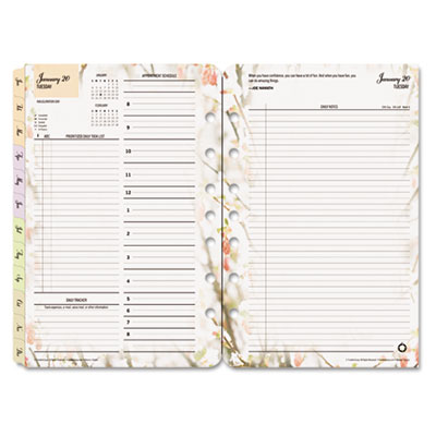 Blooms Dated Daily Planner Refill, January-December, 5-1/2 x 8-1