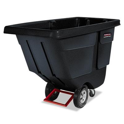 Rotomolded Tilt Truck, Rectangular, Plastic, 850lb Cap, Black