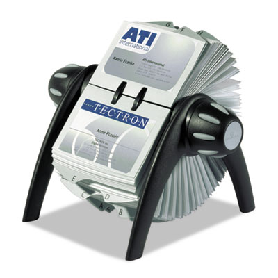 VISIFIX Rotary Business Card File Holds 400 4 1/8 x 2 7/8 Cards,
