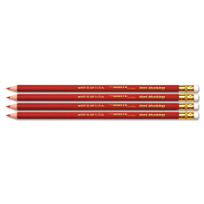 USA Made Checking Pencils, Red, Pre-Sharpened, 4/Pack
