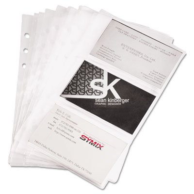 Business Card Binder Refill Pages, Six 2 x 3 1/2 Cards/Page, Cle