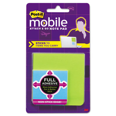 Attach & Go Full Adhesive Note Pads, 3 x 3, 2 x 2, 3 25-Sheet Pa
