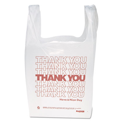 """Thank You"" Handled T-Shirt Bags, 11 1/2 x 21, Polyethylene, Whi"