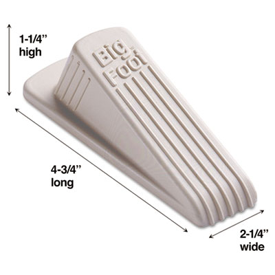 Big Foot Doorstop, No-Slip Rubber Wedge, 2-1/4w x 4-3/4d x 1-1/4