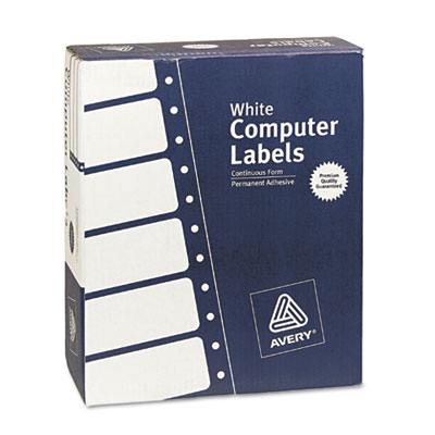 Dot Matrix Printer Address Labels, 3 Across, 1-7/16 x 4, White,