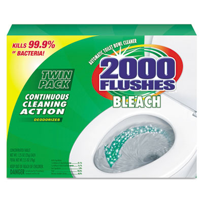 2000 Flushes Blue Plus Bleach, 1.25oz, Box, 2/Pack, 6 Packs/Cart