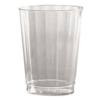 Classic Crystal Plastic Tumblers, 10 oz., Clear, Fluted, Tall, 1