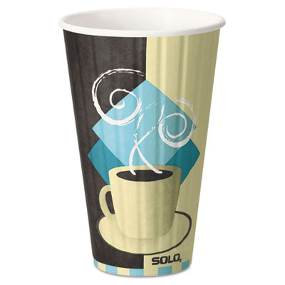Duo Shield Insulated Paper Hot Cups, 16oz, Tuscan Design, 5/Pack