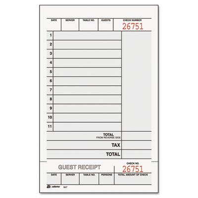 Guest Check Unit Set, Carbonless Duplicate, 7 1/4 x 4 1/4, 250/P