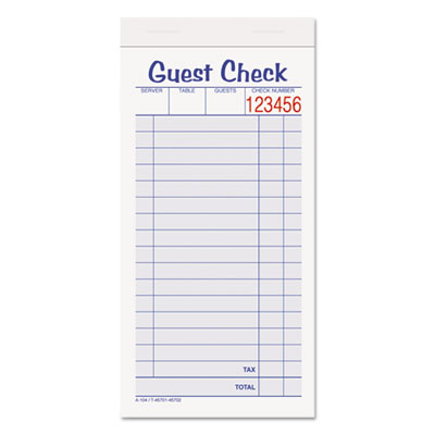 Guest Check Unit Set, Carbonless Duplicate, 6 7/8 x 3 3/8, 50 Fo