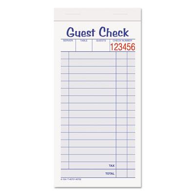 Guest Check Unit Set, Carbonless Duplicate, 6 7/8 x 3 3/8, 50 Fo