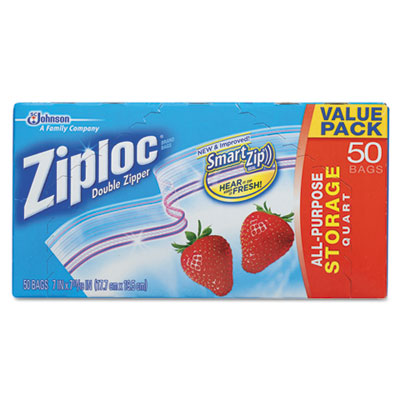Double Zipper Storage Bags, Plastic, 1qt, Clear, 50/Box