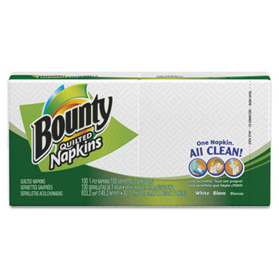 Quilted Napkins, 1-Ply, 12.1 x 12, White, 100/Pack
